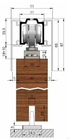 posuvné dřevěné dveře na strop (na obr. znázorněno i s krycími krytkami)