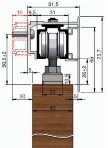 3. Montáž posuvných dveří na stěnu pomocí montážního profilu s krycím profilem