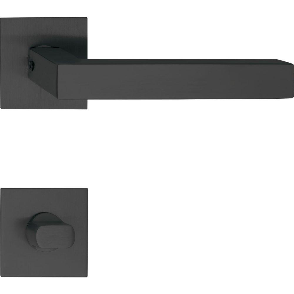 Dveřní kování MALMÖ, interiérové, klika-klika, černá, hranatá plochá rozeta Rozeta WC