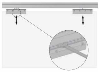 Vzdálenost mezi kolejnicemi a přírubami ovlivňujeme dotahováním šroubů