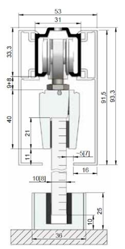 posuvné skleněné dveře na strop (na obr. znázorněno i s krycími krytkami)
