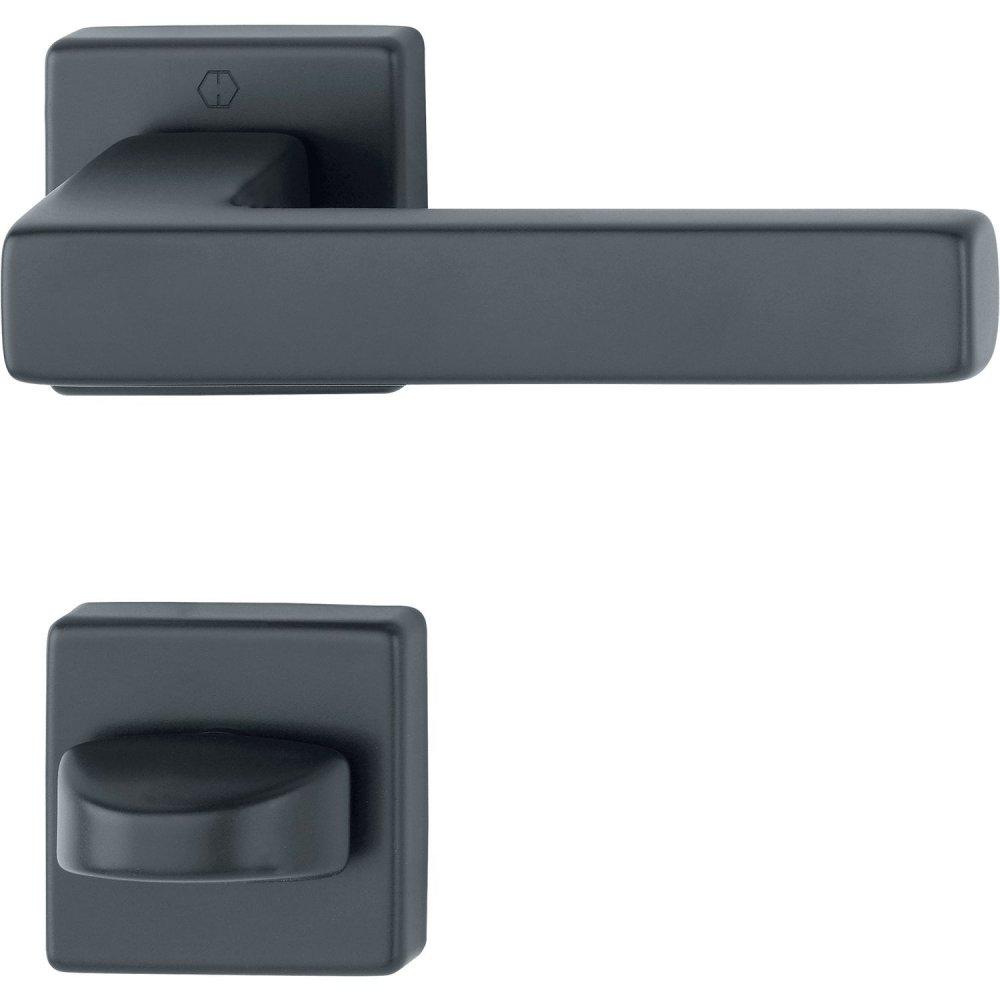 Dveřní kování AUSTIN, interiérové, klika-klika, hliník černý Rozeta WC