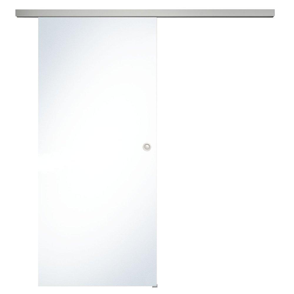 Celoskleněné posuvné dveře sada čiré sklo, posuvné kování stříbrné 820 mm