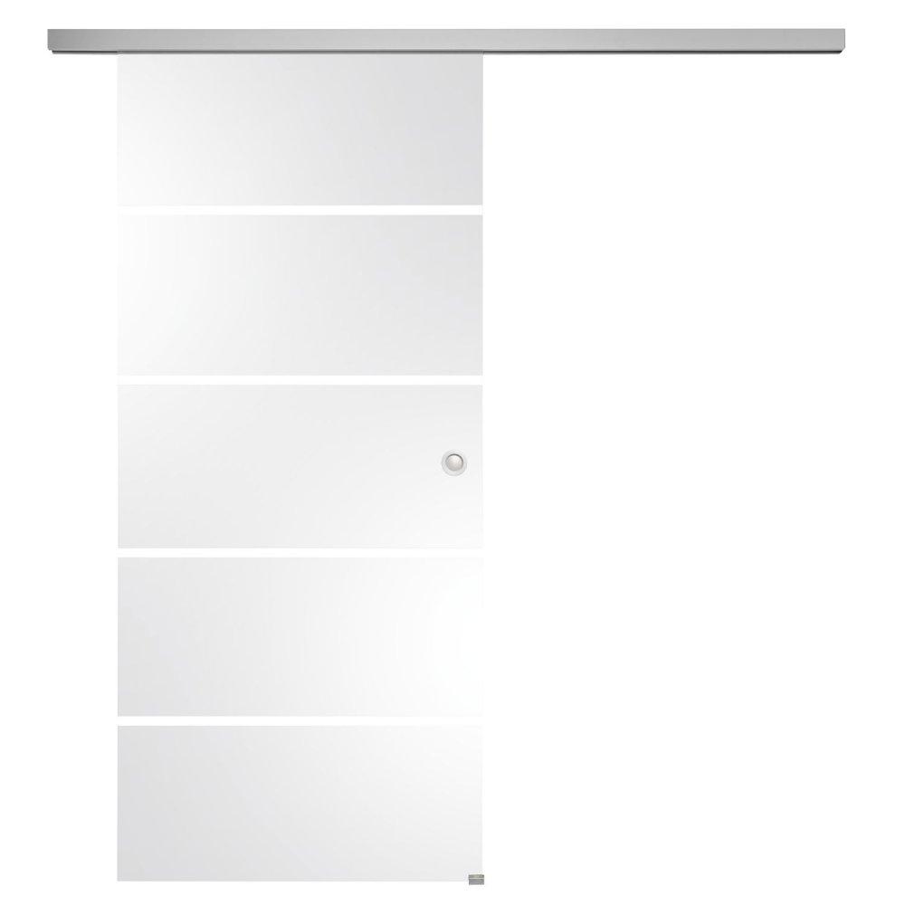 Celoskleněné posuvné dveře sada Sensita 15, posuvné kování stříbrná 820 mm