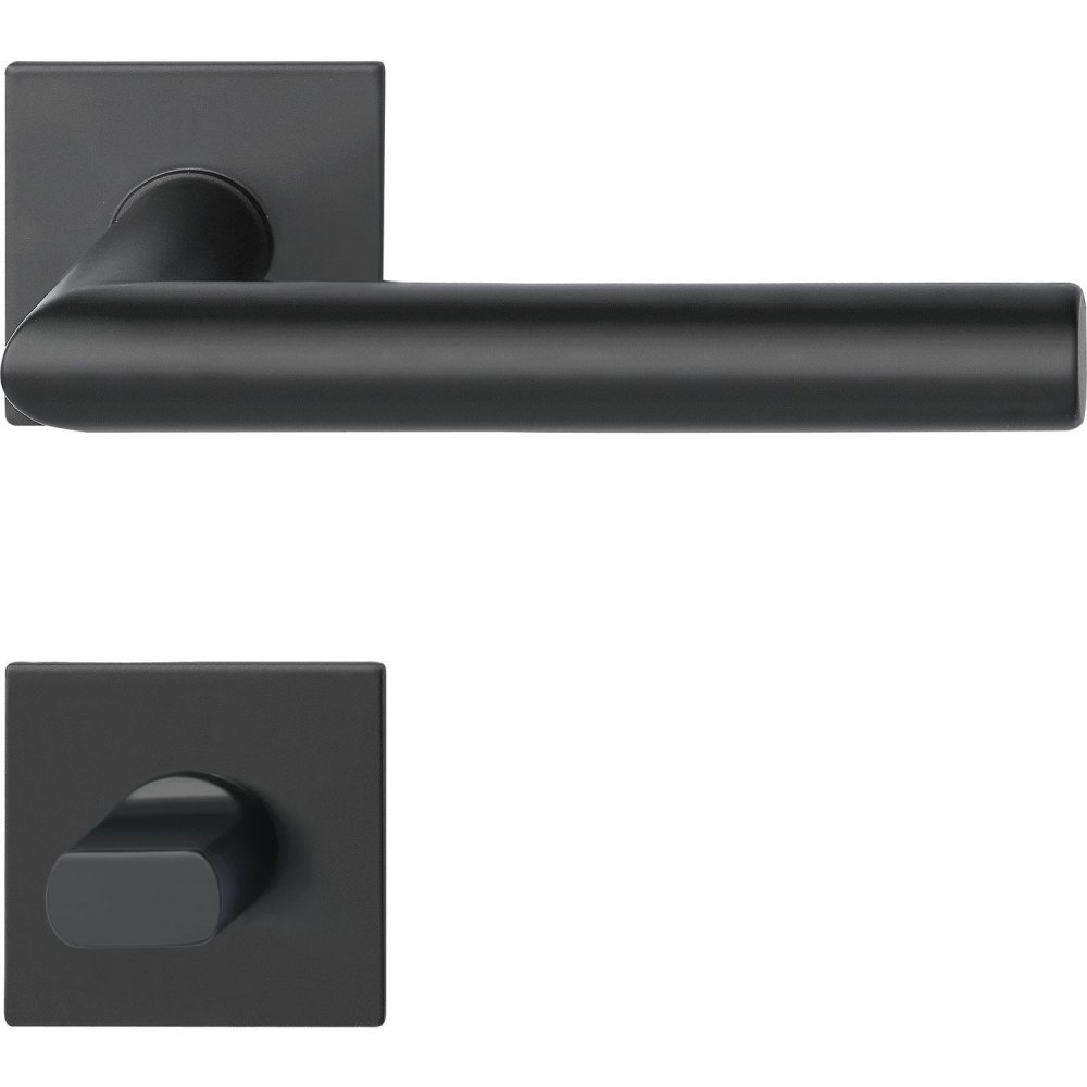 Dveřní kování NORWEGEN, interiérové, klika-klika, nerez, černý, ploch. rozeta Rozeta WC hranatá