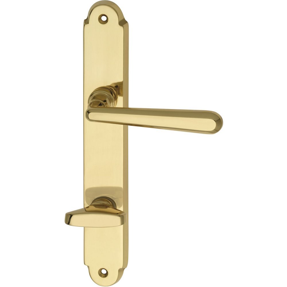 Dveřní kování ALT-WIEN, interiérové, klika-klika, mosaz, dlouhý štítek Leštěná Rozeta WC