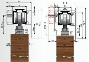 4. Montáž posuvných dveří s odsazením od stěny 15-30 milimetrů