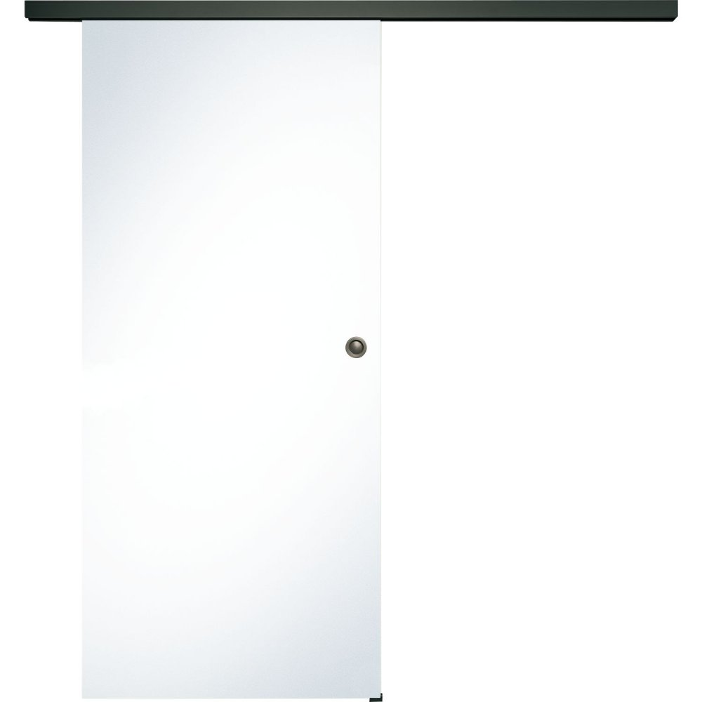 Celoskleněné posuvné dveře sada čiré sklo, posuvné kování černá 820 mm